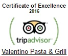 TripAdvisor Certificate of Excellence 2016 winner Valentino Pasta & Grill in Chania.