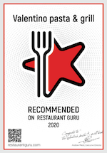 Recommended on Restaurant Guru 2020 winner Valentino Pasta & Grill in Agia Marina.